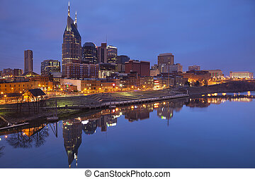Nashville. - Image of Nashville, Tennessee during twilight...