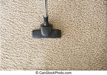 Hoovering the carpet - Hoovering the cream carpet