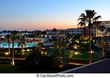 ocaso, recreación, área, lujo, hotel, Sharm,...
