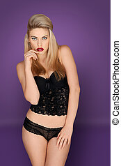 Glamorous blonde in lacy black lingerie - Glamorous young...