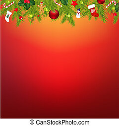 Christmas Border With Garland, With Gradient Mesh, Vector...
