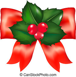 Red Bow With Holly Berry With Gradient Mesh, Vector...