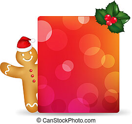Blank Gift Tag And Holly Berry And Gingerbread Man