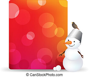 Blank Gift Tag With Snowman And Bird