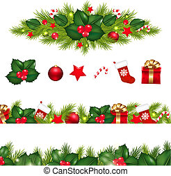Christmas Borders Set With Xmas Garland, Isolated On White...