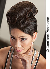 Serious Female in Retro Hairdo - Gorgeous Asian female with...