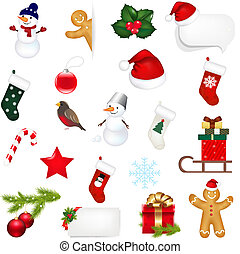 Big Set Xmas Icons Isolated On White Background With...