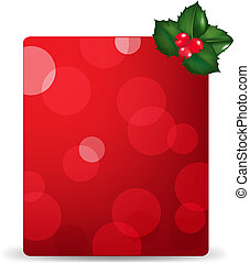 Red Blank Gift Tag And Holly Berry