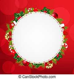 Speech Bubble With Christmas Icons And Red Bokeh, With...