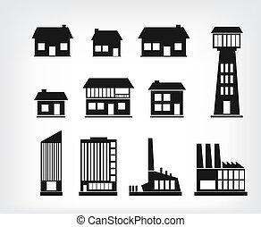 Building icons - Set of various buildings