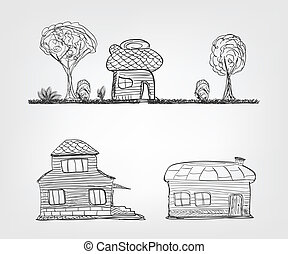 Set of 4 house icons