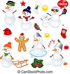 Collection Of Snowmen And Christmas Icons, Isolated On White...
