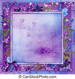 Valentines Day - Beautiful flowers on a purple background...