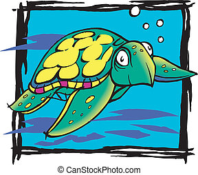 graphic turtle - Sea turtle vibrant colors