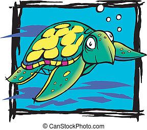 graphic turtle - Sea turtle vibrant colors