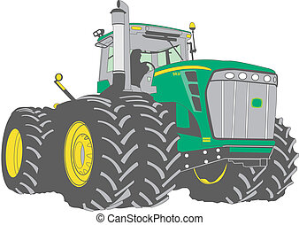 Large farm tractor - large green farm tractor