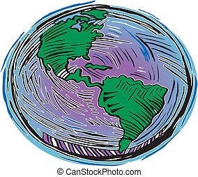 Woodcut earth look