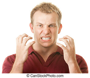 Angry Man Clenching Teeth - Angry blond muscular Caucasian...