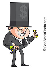 Evil banker - Isolated illustration Evil banker