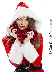 Christmas woman and red tinsel - Beautiful happy woman...