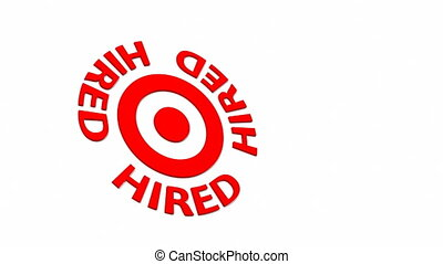 Hired Target - Target and dart with circular text. Part of a...