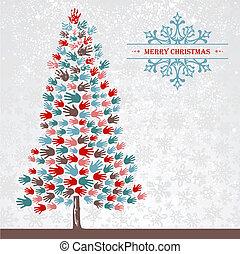 Diversity Christmas pine Tree hands - Diversity Christmas...