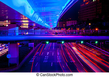 Blue Highway Street Traffic Cars and Green Traffic Light Red...