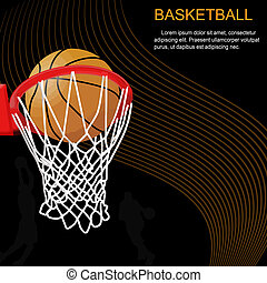 Basketball hoop and ball on abstract background, vector...