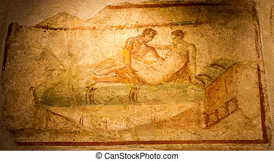ancient fresco in Pompeii,  adult brothel artwork