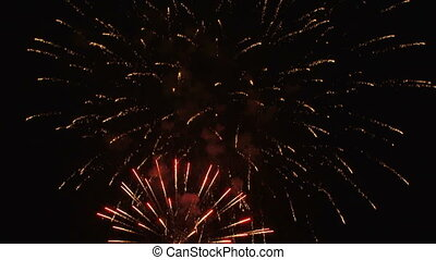Night show on Fourth of July - Beautiful fireworks igniting...