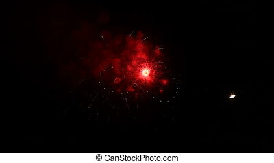 On Fourth of July - Spectacular fireworks lighting up the...