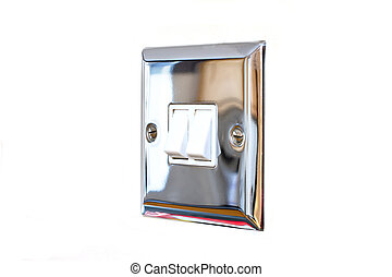 chrome light switch in a modern kitchen