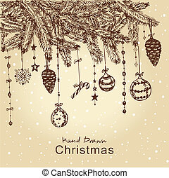 christmas fur tree - Hand drawn Christmas fur tree with...