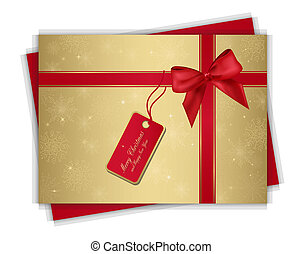 christmas gift card - Christmas gold gift card with red...