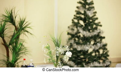 Holiday interior with a Christmas tree and other decorations
