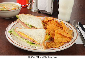 Bologna and cheese sandwich - A bologna sandwich with...