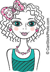 Cute funny teen girl - Illustration of young little funny...