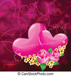 pair of Heart with Flower