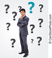Questioning businessman on white background with question...