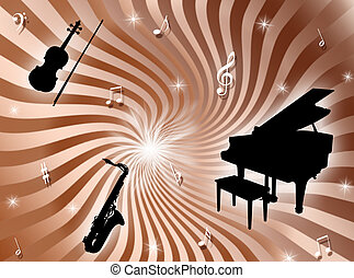 Orchestra background - Sunburst background with musical...