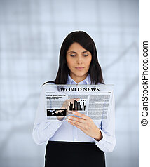 Businesswoman scrolling through vir