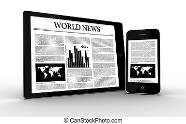Digital tablet and smartphone displaying news