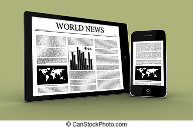 Digital tablet and smartphone showing the news