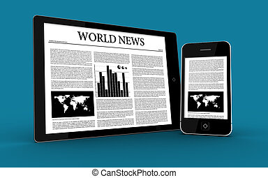 Digital tablet and smartphone showing news