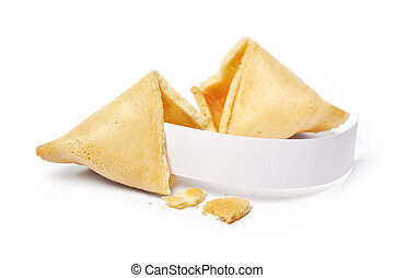Fortune cookies - Broken fortune cookies with blank slip...
