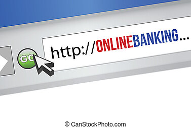 online banking concept - internet browser with an online...