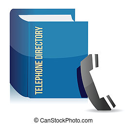 Blue telephone directory illustration design over a white...