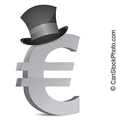 euro currency and hat