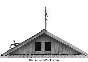 old house roof with antennas