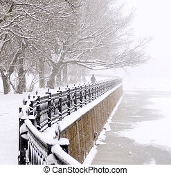 The Kronverk embankment in Saint Petersburg at snowfall.